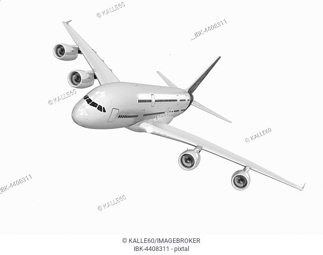 Portrait of wide-bodied jet in flight, white background