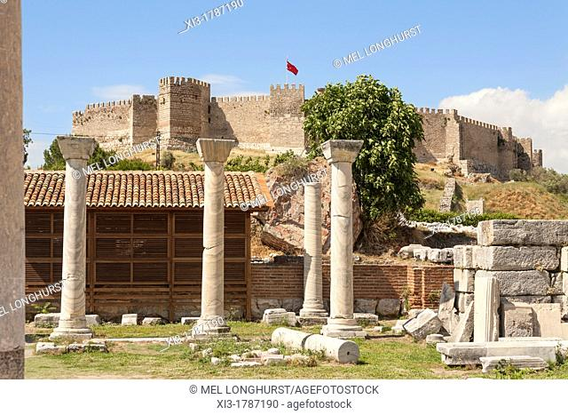 Ayasuluk Castle on Ayasuluk Hill behind the ruins of Saint John's Basilica, Selcuk, near Ephesus, Turkey
