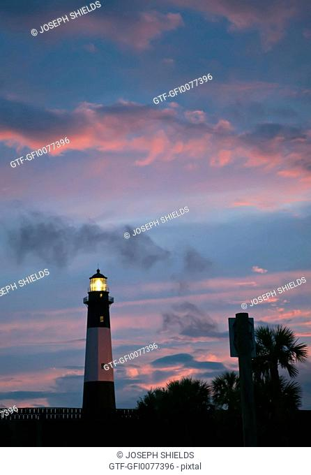 Tybee Island lighthouse at twilight