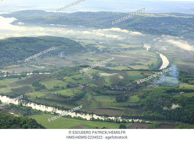 France, Dordogne, Perigord Noir, Dordogne Valley, the valley in the morning fog (aerial view)