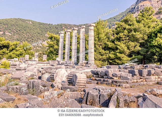 Marble columns at temple of Athena of Ancient Greek City in Priene, Soke, Aydin, Turkey