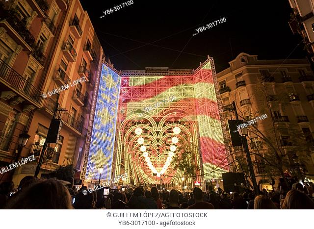 Light and sound show in the streets of Ruzafa in Valencia as pasrt of the Fallas festivity, Spain