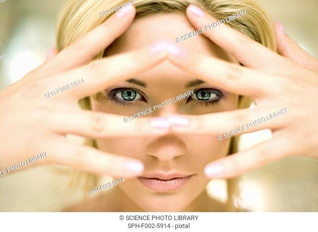 Woman's eyes open
