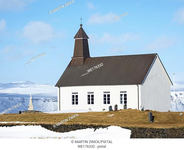Strandarkirkja, a small church right at the shore of the north atlantic. Northern Europe, Scandinavia, Iceland, February