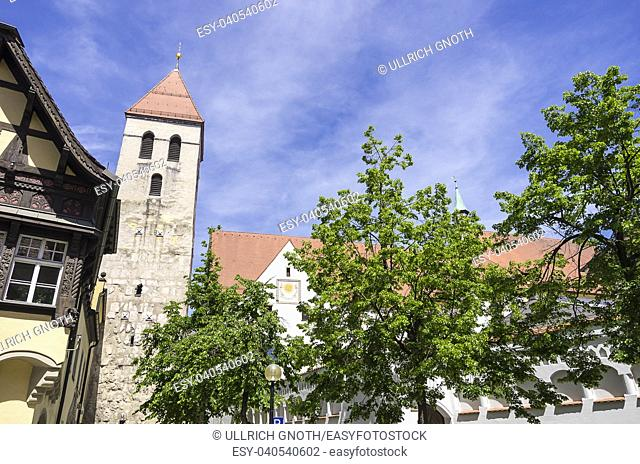 Medieval architecture and tower in Kapellengasse Alley in the Old Town of Regensburg, Bavaria, Germany