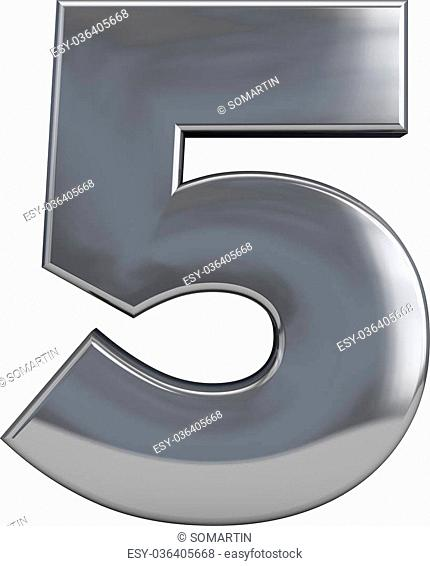 Metal number 5 (five) character isolated on white. Including clipping path. Part of complete alphabet set