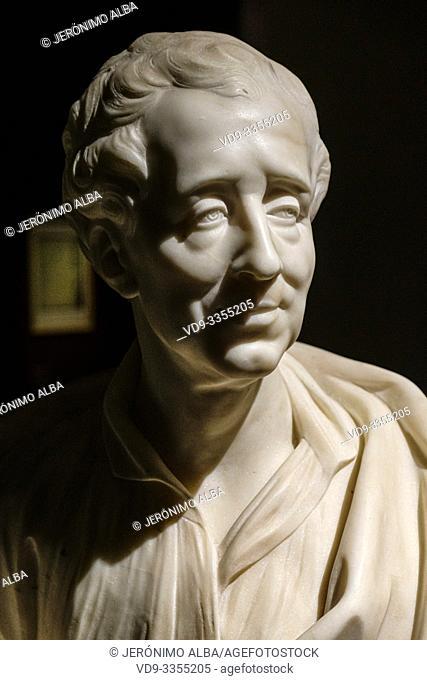Replica bust of Montesquieu 1689-1755. Musée d'Aquitaine, Aquitaine museum. Bordeaux, Gironde. Aquitaine region. France Europe