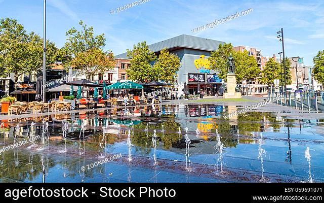 Tilburg Netherlands - September 10, 2019: Statue in Tilburg of William II King of the Netherlands with water fountains in front