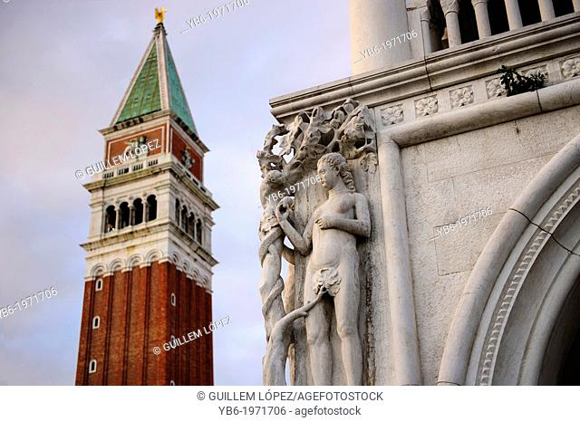 View of the Campanile bell tower in front of the doge's Palace, Venice, Italy