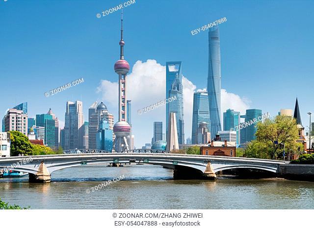 beautiful shanghai scenery on suzhou river, China