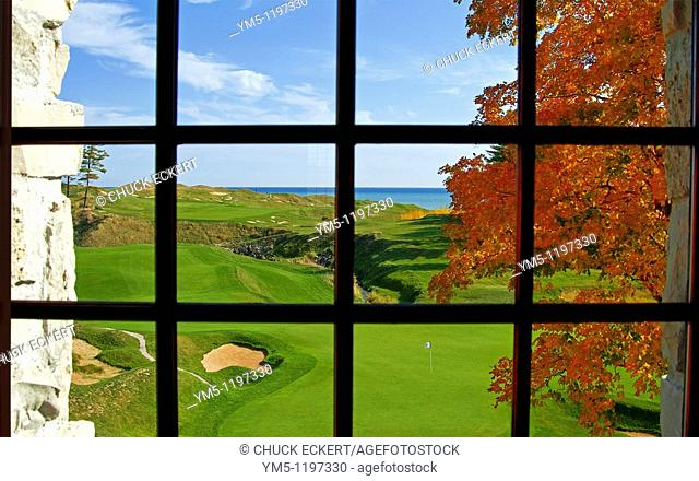 !8th Hole through 2nd floor clubhouse window  Whistling Straits Golf Course, Kohler, Wisconsin, USA