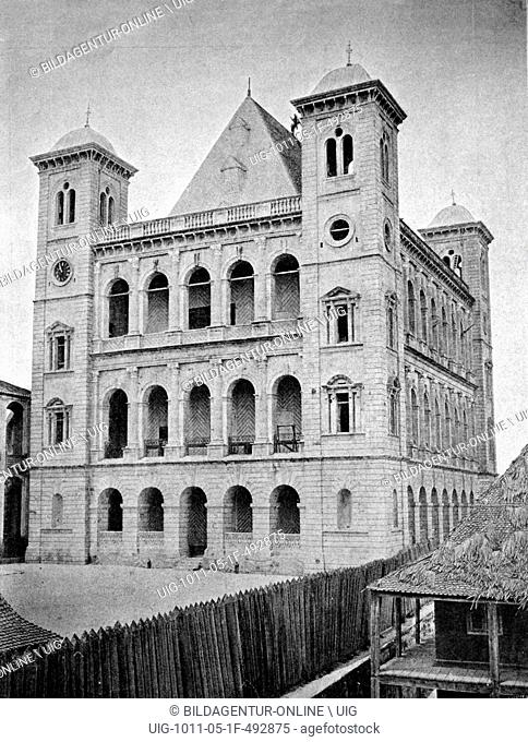 One of the first autotype prints, queens palace, historic photograph, 1884, antananarivo, tananarive, madagascar