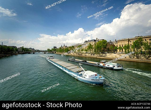 Barges on Seine river in Paris