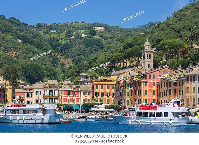 Portofino, Genoa Province, Liguria, Italian Riviera, Italy. Excursion boat entering the harbour. Coloured houses of the village behind