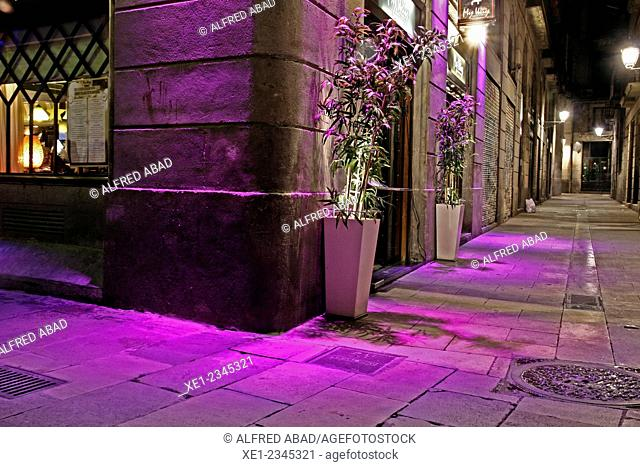 Restaurant at night, Gothic Quarter, Barcelona, Catalonia, Spain