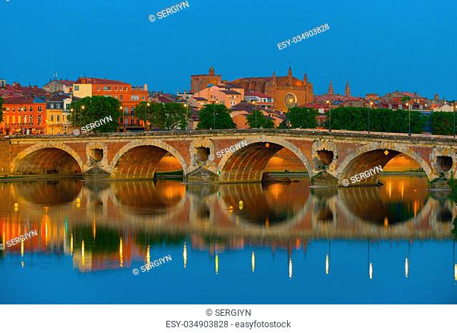 View of Toulouse and Pont Neuf at a summer night