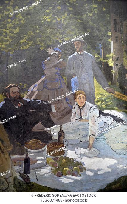 Lunch on the Grass, Le déjeuner sur l'herbe, Claude Monet (1840-1925), Musee d'Orsay, Orsay Museum, Paris, France, Europe