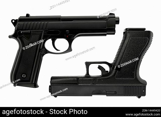 Isolated picture of a Beretta and a Glock 17 pistol on white background