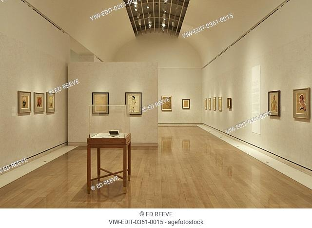 Straight on view of room with table. Klimt Schiele Exhibition at the Royal Academy, London, United Kingdom. Architect: N/a, 2018
