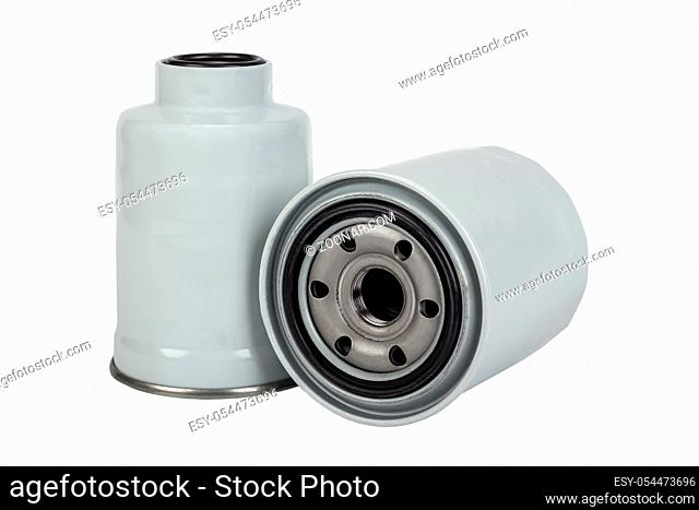 Fuel and oil car filter isolated on white background