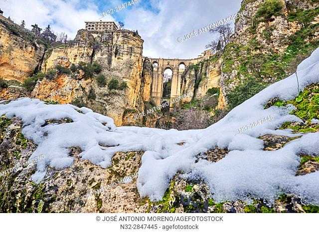 Puente Nuevo (new bridge), Tajo Gorge, Winter, Ronda. Malaga province, Andalusia, Spain