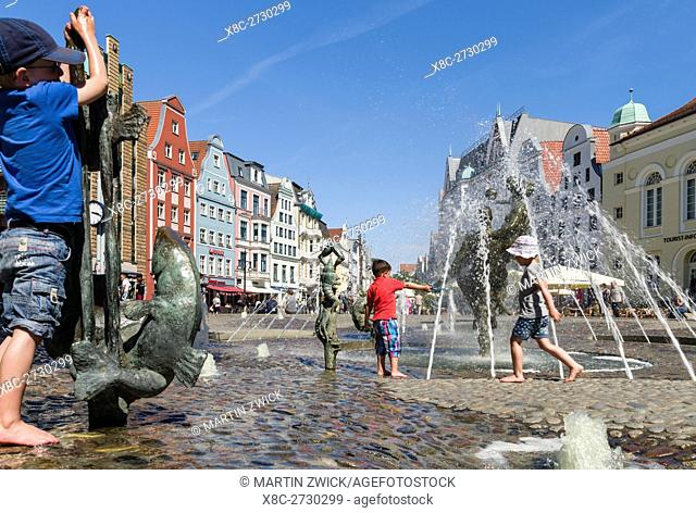 Fountain Brunnen der Lebensfreude ( lust for life ) at the Kroepeliner Strasse. The hanseatic city of Rostock at the coast of the german baltic sea