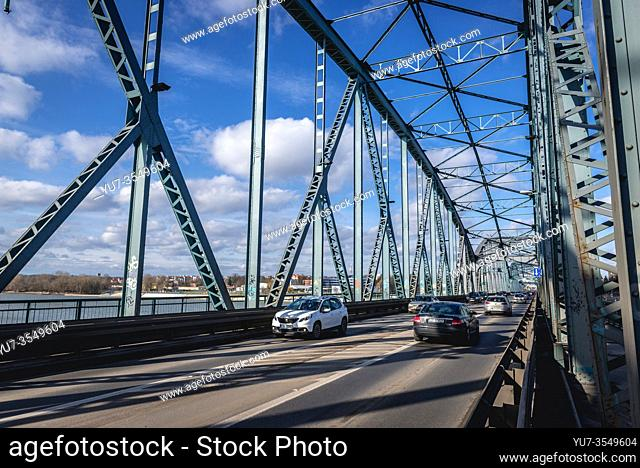 Jozef Pilsudski Bridge over Vistula River in Torun, Kuyavian Pomeranian Voivodeship of Poland