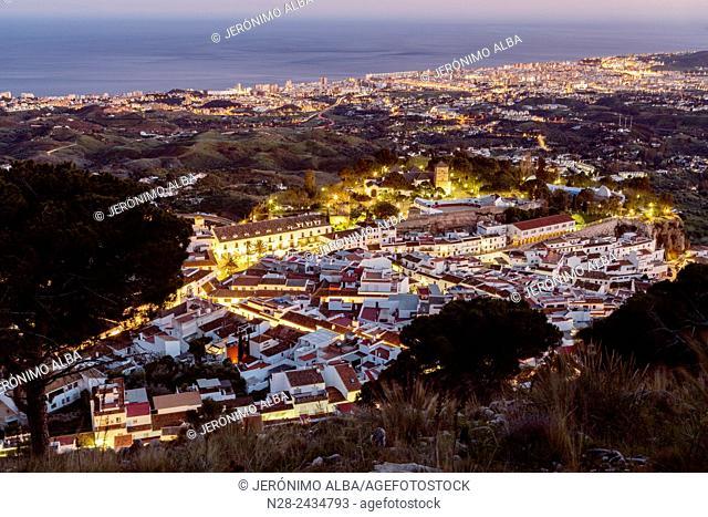 White village (Pueblo blanco) at dusk, Mijas, Malaga province, Andalusia, Spain