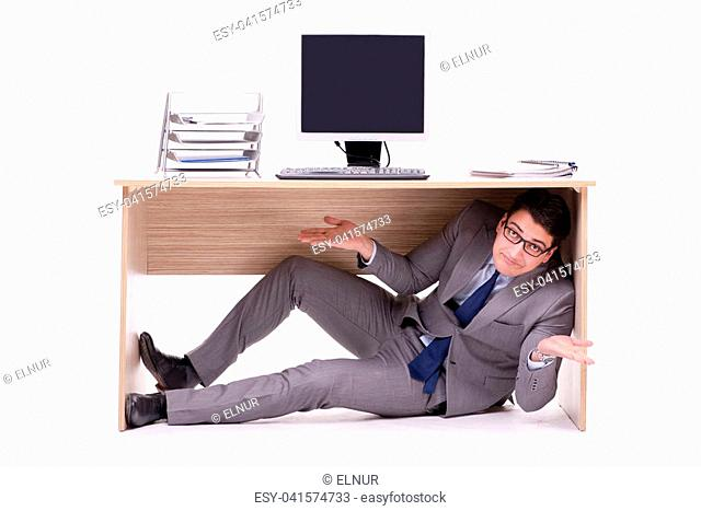 Hidden Behind Desk Stock Photos And Images Age Fotostock