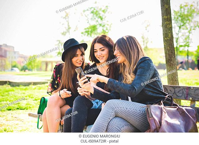 Three young female friends reading smartphone update on park bench