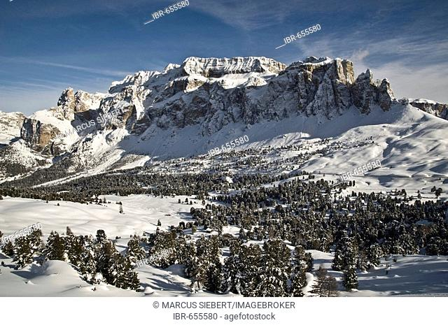 Sella Group in wintertime, Bolzano-Bozen, Dolomites, Italy, Europe