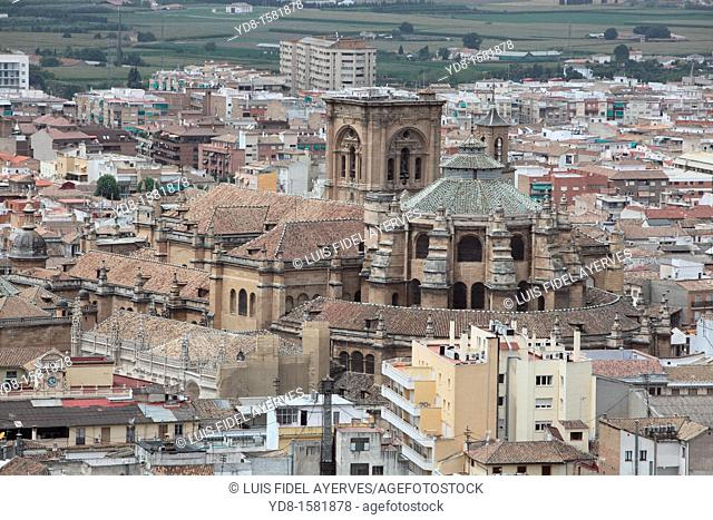 Panoramic view of the Cathedral of Granada from the Alhambra, Granada, Andalusia, Spain, Europe