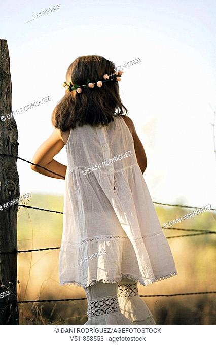 girl, countryside, back view, looking