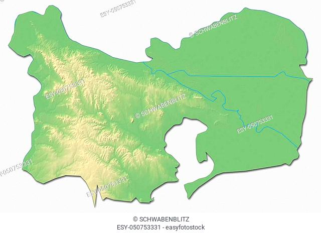 Relief map of Tulcea, a province of Romania, with shaded relief