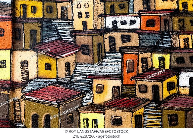 Houses and stairs of the Panier district of Marseille in cartoon form