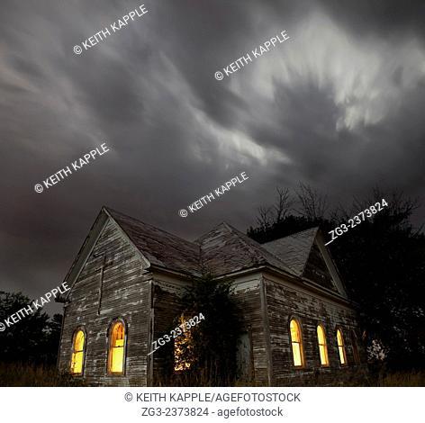 Stormy night sky at an Abandoned Church near Walters, Oklahoma