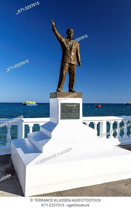 The decorative Rafael E. Melgar seaside sculptures along the malecon in the port of Cozumel, Mexico