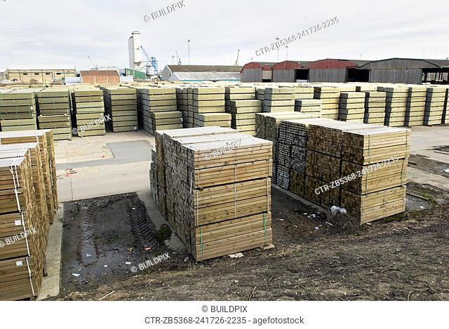 Timber storage yard, Kings Lynn, Norfolk, UK