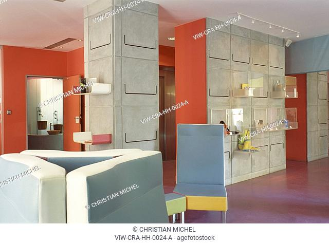 HI HOTEL, 3 AVE DES FLEURS, NICE, FRANCE, MATALI CRASSET PRODUCTIONS, INTERIOR, LOBBY WITH WALL DETAIL
