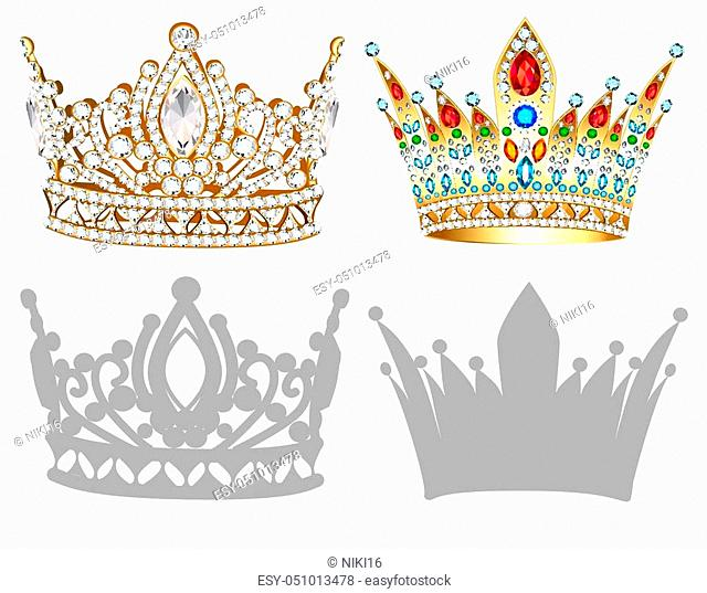 set of golden crown illustrations, tiara, diadem and silhouettes on white background