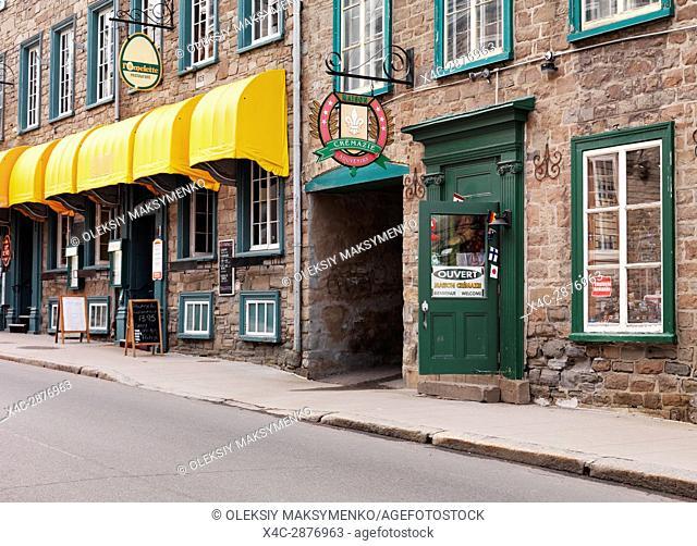 Maison Crémazie souvenirs store and l'omelette restaurant on Rue Saint Louise historic street in Old Quebec, Canada. Rue Saint-Louise, Ville de Québec
