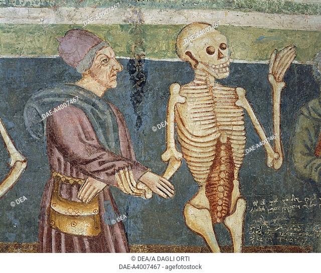 Death accompanying a doctor, Dance of Death (1490), detail from the frescoes by Janez Iz Kastva, Trinity Church, Hrastovlje fortified church, Slovenia
