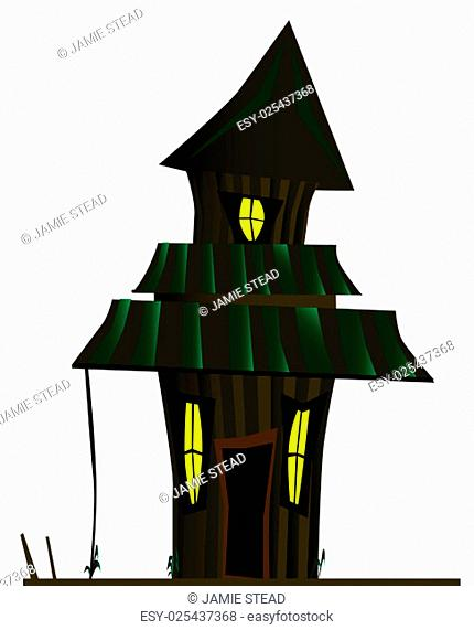 A halloween haunted house isolated over a white background