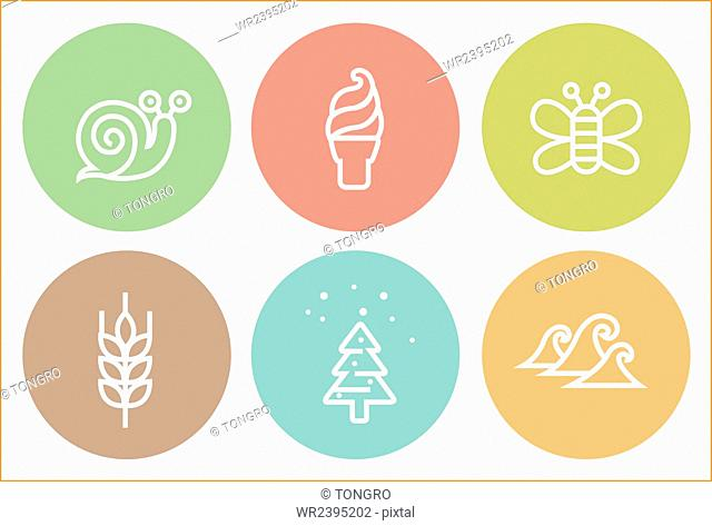 Various icons representing different seasons