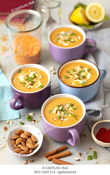 Red lentils and sweet potatoes cream sup with coconut milk