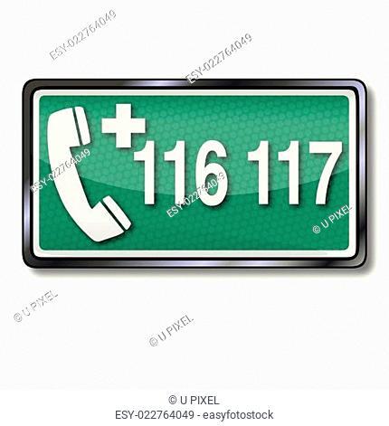 Rettungszeichen mit Notruf 116 117 und Ärztlicher Notdienst