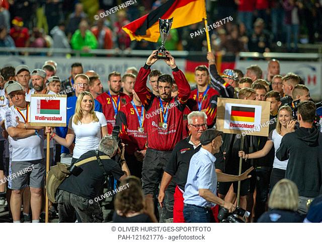 Award ceremony, the German team around Benjamin Walz, with trophy. GES / Motoball / European Championship, Final: Germany - Russia, 22.06.2019