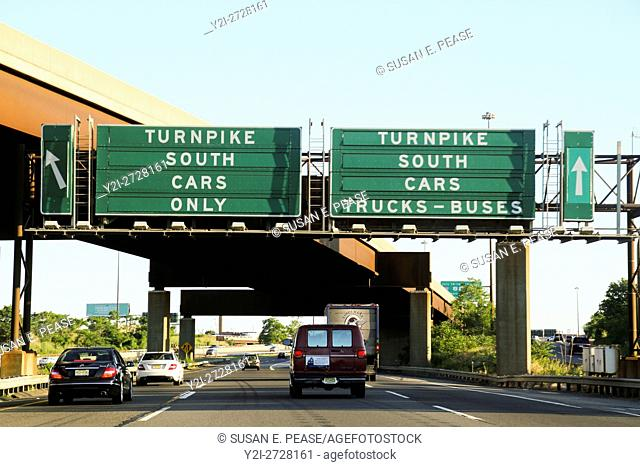 Driving, New York/New Jersey highways, United States, North America
