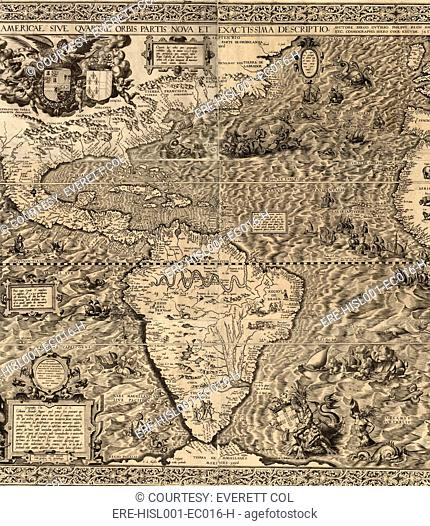 1562 map of North and South America by Spaniard, Diego Gutiérrez. Map features not only the Amazon River system, Lake Titicaca