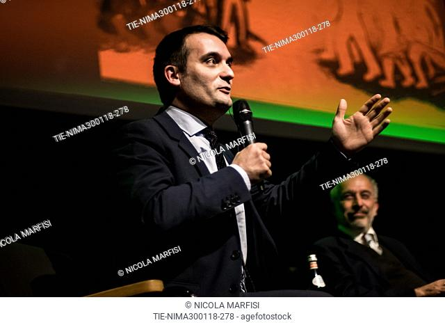 Florian Philippot during a conference to discuss the spread of right-wing political parties in Europe and in Italy, Milan 30/01/2018
